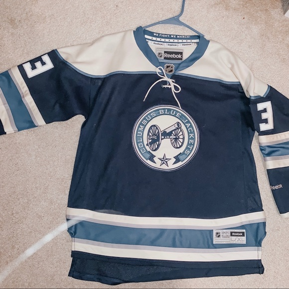 Blue NHL Hockey Girls Boys Kids Columbus Blue Jackets Vintage Mesh Jersey